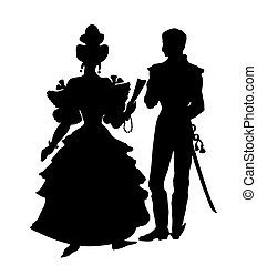 silhouette of the officer with lady on white background