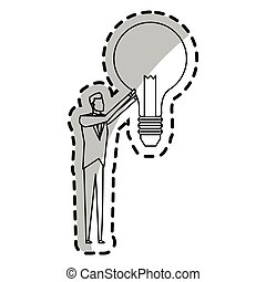 man and lightbulb idea icon image