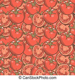 Vintage Red Tomatoes Seamless Pattern - Vector seamless...