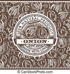 Vintage Onion Label On Seamless Pattern