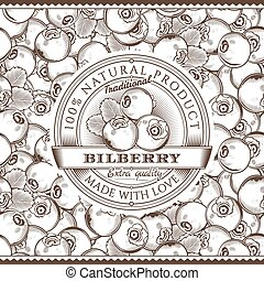 Vintage Bilberry Label On Seamless Pattern - Vector label on...