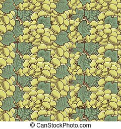 Vintage Green Grapes Seamless Pattern - Vector seamless...