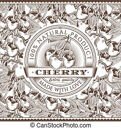 Vintage Cherry Label On Seamless Pattern - Vector label on...
