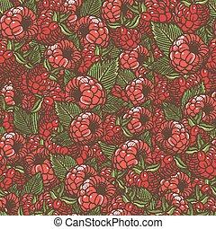 Vintage Raspberries Seamless Pattern - Vector seamless...