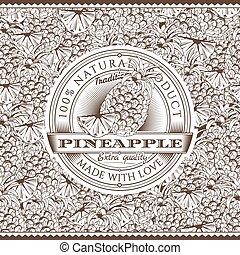 Vintage Pineapple Label On Seamless Pattern - Vector label...