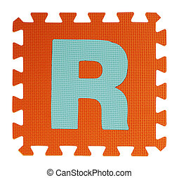 R text Jigsaw on white background , Interlocking EVA Foam,...