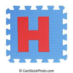 H text Jigsaw on white background , Interlocking EVA Foam,...