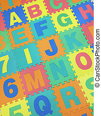 A, B, C, E, F,G and J text jigsaw tiles floor on white...