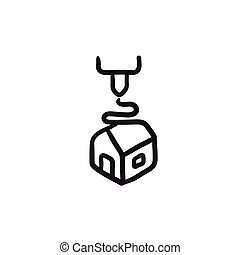 Tree D printing sketch icon. - Tree D printing vector sketch...