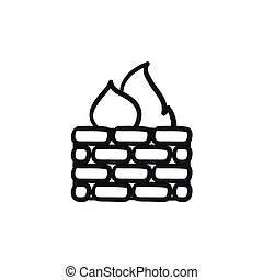 Firewall sketch icon. - Firewall vector sketch icon isolated...