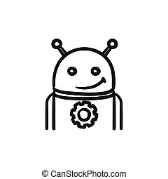 Android with gear sketch icon. - Android with gear vector...