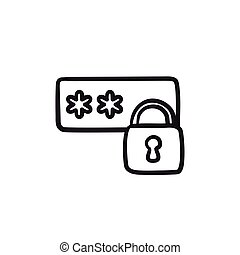 Password protected sketch icon.