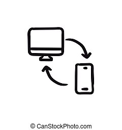 Synchronization computer with phone sketch icon. -...