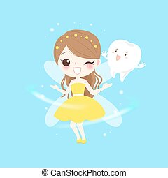 teeth with tooth fairy - cute cartoon teeth with tooth fairy...