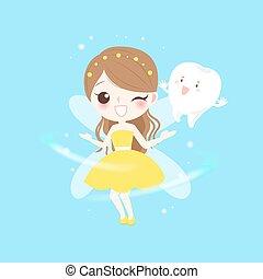 teeth with tooth fairy - cute cartoon teeth with tooth fairy...