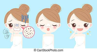 woman with acne problem - cartoon beauty woman with acne...