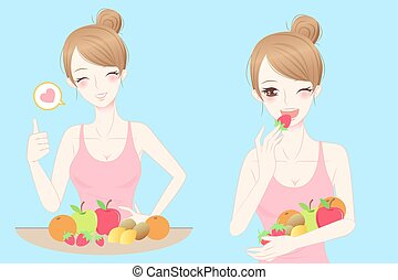 woman with health concept - beauty casul woman eat fruit...