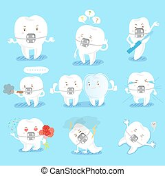 tooth do different emotions - cute cartoon tooth do...