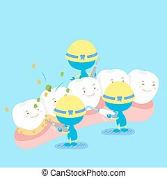 tooth with clean concept - cute cartoon tooth with health...
