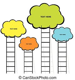cloud with stairs set in color illustration