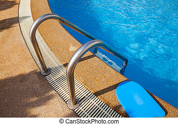 stair on the edge of swimming pool