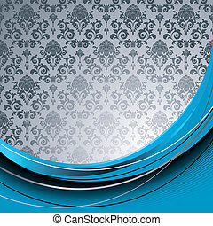 Blue and gray background - Blue background with flowers and...