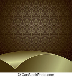 Brown and gold background - Brown background with flowers...