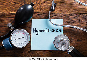 Medical Concept Of Hypertension On Wooden Desk - A Medical...