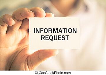 información, petición, tenencia, hombre de negocios, mensaje, tarjeta