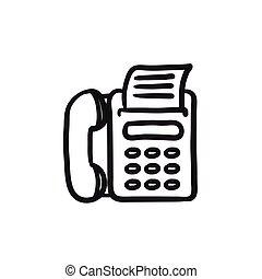 Fax machine sketch icon. - Fax machine vector sketch icon...