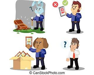 business animal confused cartoon set