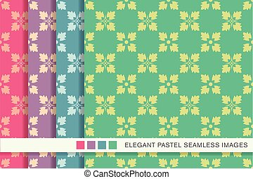 Seamless pastel background set square cross flower