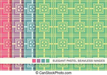 Seamless pastel background set square cross flower