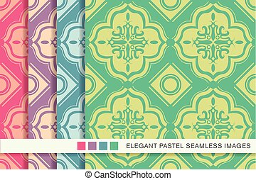 Seamless pastel background set square round geometry