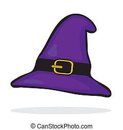 Purple witchs hat - Purple witchs hat Halloween icon Vector...