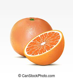 Grapefruit - Two grapefruits on a white background