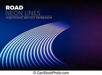 Neon lines background with 80s style shiny road turn