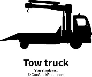 Vector illustration black silhouette of tow truck - Vector...