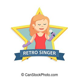 retro singer woman in star emblem