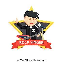 rock singer man in star emblem