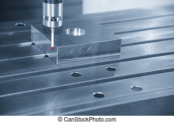The measurement probe for measure the sample part on the CNC...