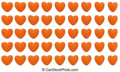Pattern of 3D hearts isolated on white background....