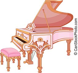 Fortepiano - Illustration of old fortepiano and chair for...