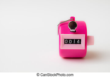 Hand tally. - 4 digi hand held tally counter in pink color...