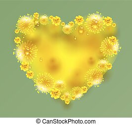 Yellow mimosa flowers heart shape on green background....