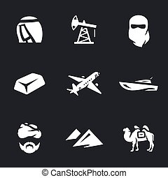 Vector Set of UAE Icons. - Sheikh, oil derrick, hijab, bar...
