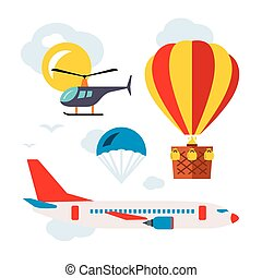 Vector Aviation Icons Set. Flat style colorful Cartoon...