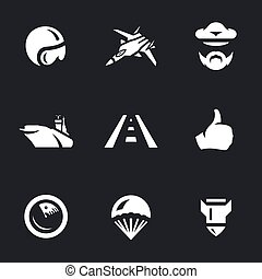 Vector Set of Aircraft carrier Icons. - Pilot helmet,...