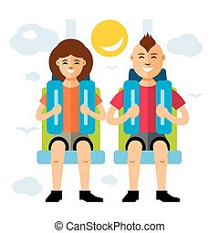 Vector Couple in Attraction Park. Flat style colorful...