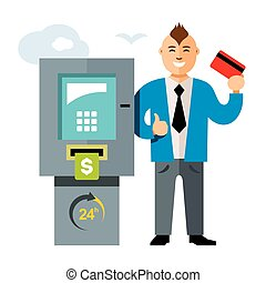 Vector ATM and Businessman. Flat style colorful Cartoon...